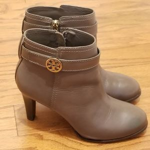 Tory Burch brown leather booties.  EUC. Size 7